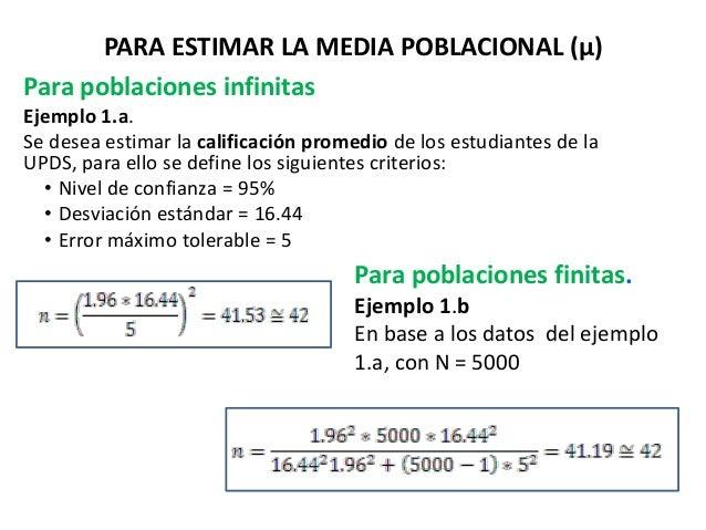 PARA ESTIMAR LA MEDIA POBLACIONAL (µ) Para poblaciones infinitas Ejemplo 1.a. Se desea estimar la calificación promedio de...