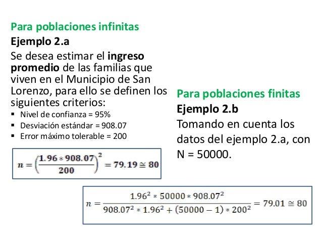Para poblaciones infinitas Ejemplo 2.a Se desea estimar el ingreso promedio de las familias que viven en el Municipio de S...