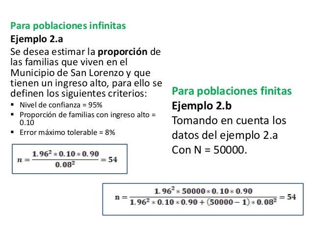 Para poblaciones infinitas Ejemplo 2.a Se desea estimar la proporción de las familias que viven en el Municipio de San Lor...