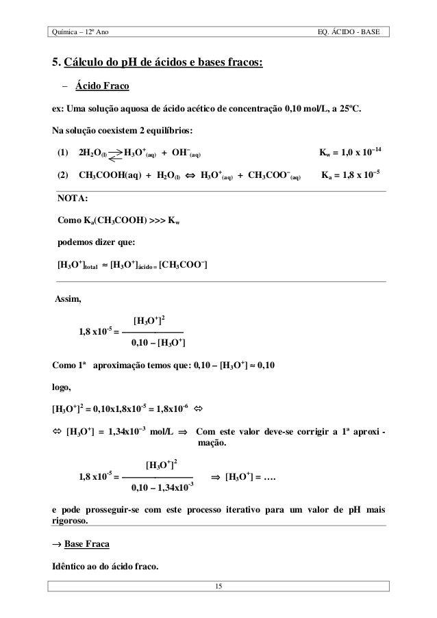 Química – 12º Ano EQ. ÁCIDO - BASE 15 5. Cálculo do pH de ácidos e bases fracos: – Ácido Fraco ex: Uma solução aquosa de á...