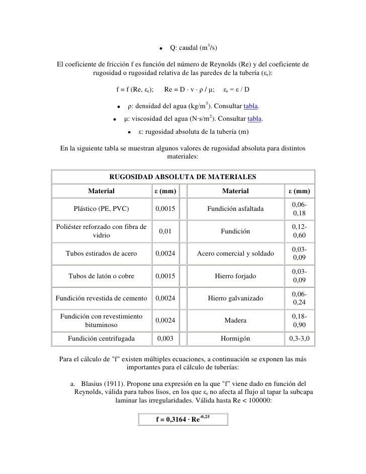 Formula de manning para perdidas de carga en tuberias