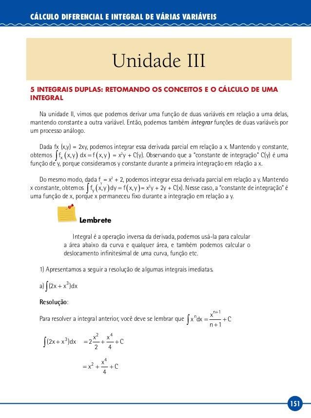 151 Cálculo Diferencial e Integral de Várias Variáveis Unidade III 5 INTEGRAIS DUPLAS: Retomando os conceitos e o cálculo ...