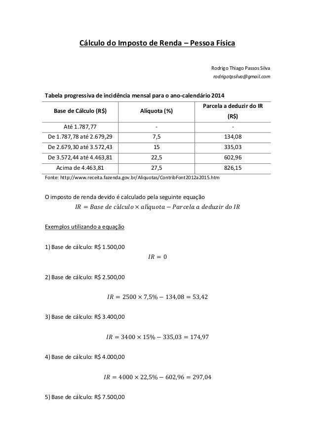 Cálculo do Imposto de Renda – Pessoa Física Rodrigo Thiago Passos Silva rodrigotpsilva@gmail.com Tabela progressiva de inc...