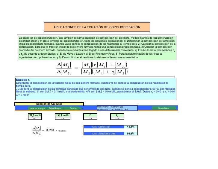 APLICACIONES DE LA ECUACIÓN DE COPOLIMERIZACIÓN  La ecuación de copolimerización, que tambien se llama ecuación de composi...