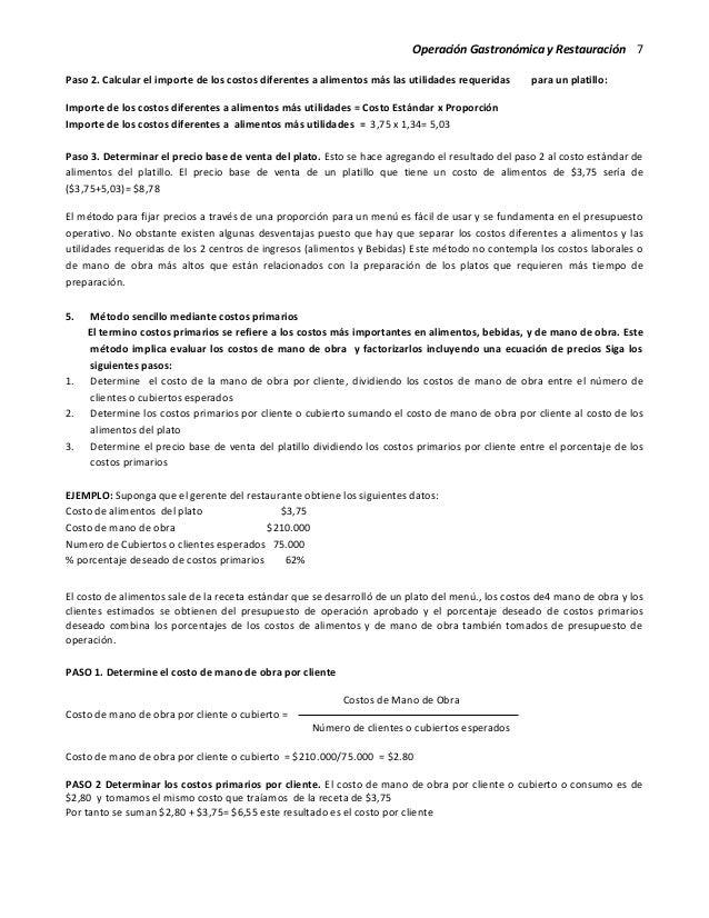 Operación Gastronómica y Restauración 7 Paso 2. Calcular el importe de los costos diferentes a alimentos más las utilidade...