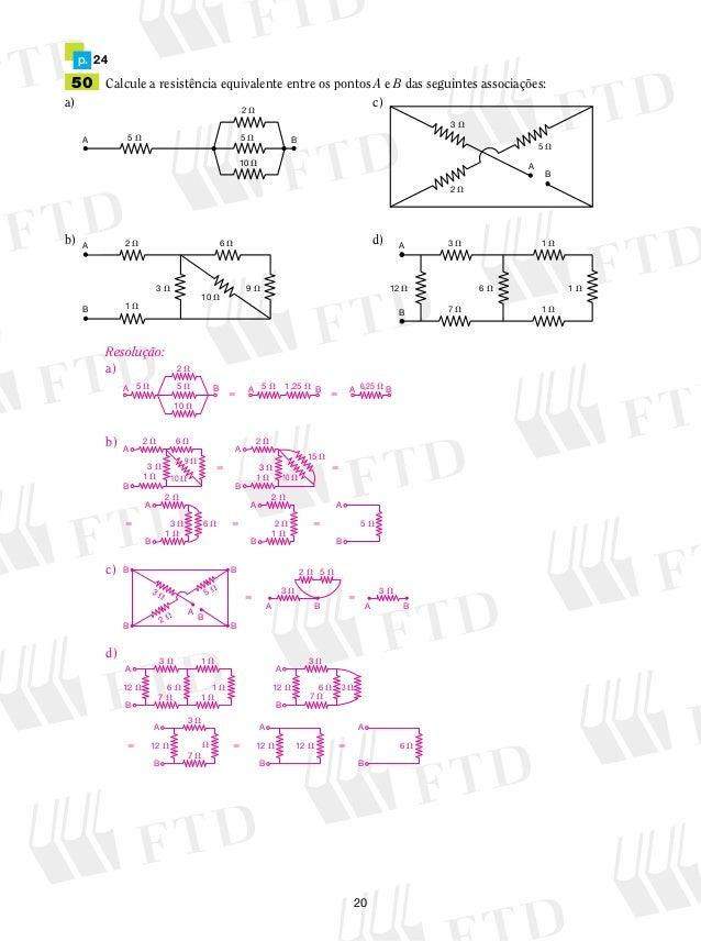 50 Calcule a resistência equivalente entre os pontos A e B das seguintes associações:  a) c)  5  5  B  b) d)  5  5  5  1,2...