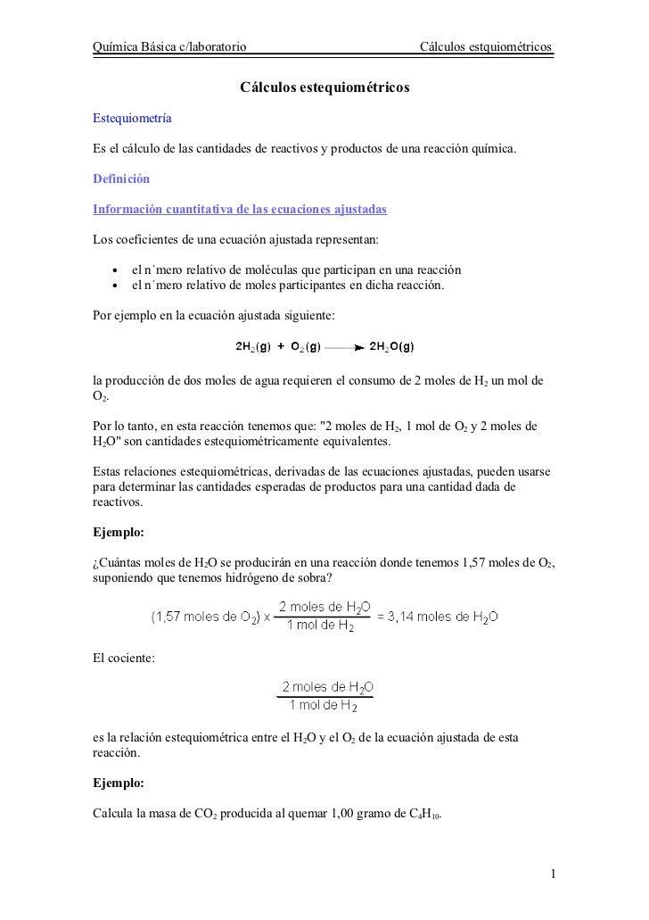 Química Básica c/laboratorio                                   Cálculos estquiométricos                               Cálc...