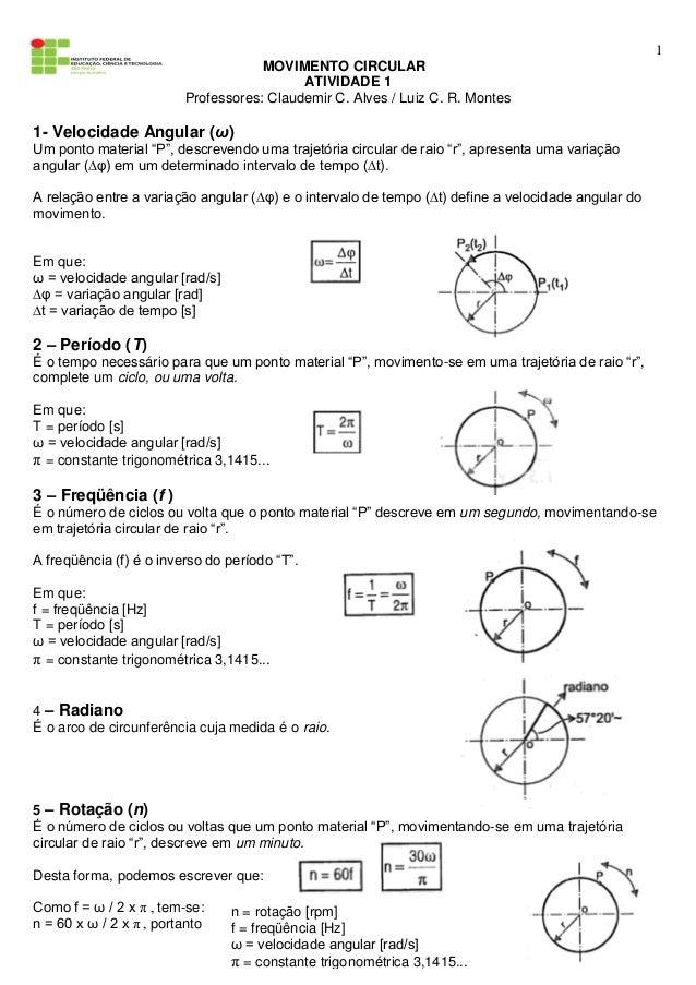 1 MOVIMENTO CIRCULAR ATIVIDADE 1 Professores: Claudemir C. Alves / Luiz C. R. Montes 1- Velocidade Angular (ω) Um ponto ma...