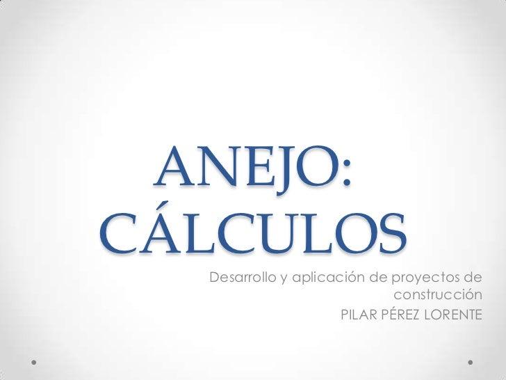 ANEJO: CÁLCULOS<br />Desarrollo y aplicación de proyectos de construcción<br />PILAR PÉREZ LORENTE<br />