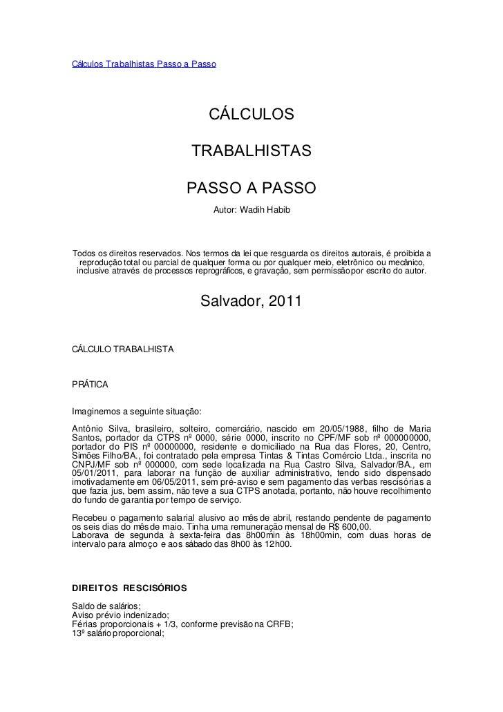 Cálculos Trabalhistas Passo a Passo                                    CÁLCULOS                               TRABALHISTAS...