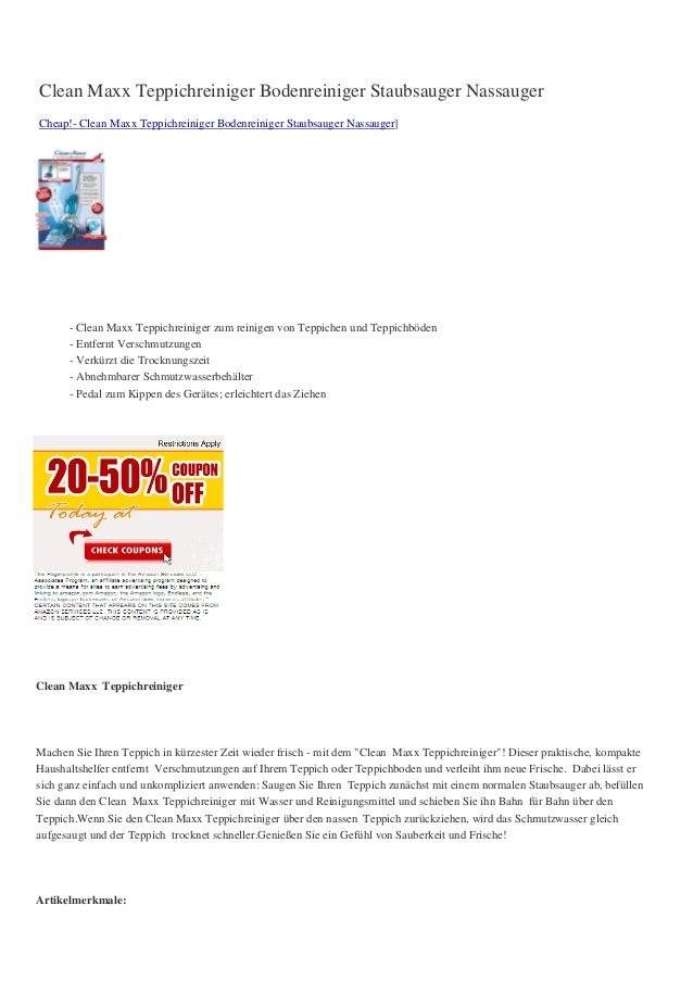 Clean Maxx Teppichreiniger Bodenreiniger Staubsauger NassaugerCheap!- Clean Maxx Teppichreiniger Bodenreiniger Staubsauger...