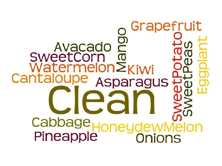 Topics of Discussion• Most and Least Contaminated Produce – EWG's  Shopper's Guide (Environmental Working Group)• Clean 15...