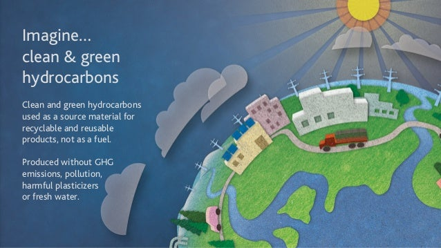 Imagine… clean & green hydrocarbons ! Clean and green hydrocarbons  used as a source material for recyclable and reusabl...