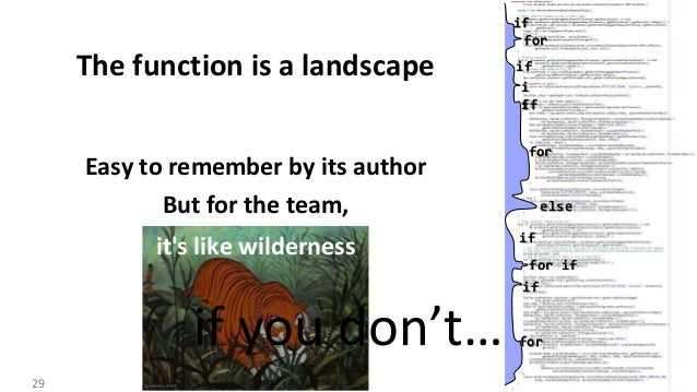 VictorRentea.ro The function is a landscape Easy to remember by its author But for the team, it's like wilderness Function...