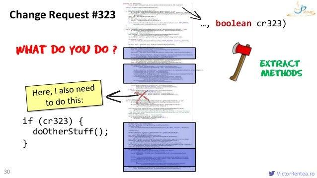 VictorRentea.ro30 doOtherStuff(); if (cr323) { } …, boolean cr323) What do you do ? EXTRACT METHODS Change Request #323