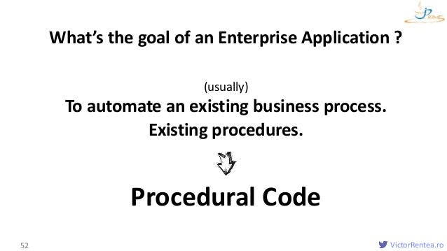 VictorRentea.ro52 What's the goal of an Enterprise Application ? Existing procedures. (usually) To automate an existing bu...