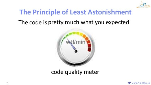 VictorRentea.ro5 pretty much what you expected The Principle of Least Astonishment The code is wtf/min code quality meter