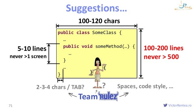 VictorRentea.ro public class SomeClass { … public void someMethod(…) { … } … } Formatting Suggestions… 71 { } 100-200 line...