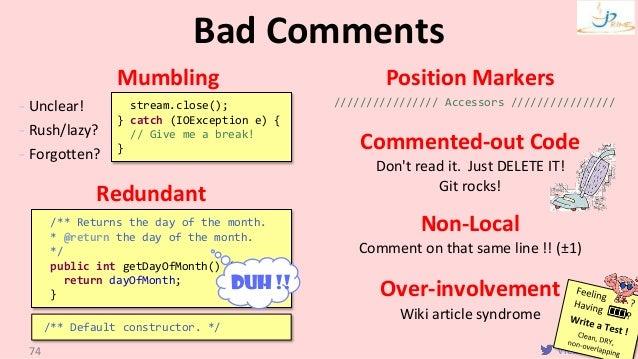 VictorRentea.ro Mumbling - Unclear! - Rush/lazy? - Forgotten? Redundant Position Markers //////////////// Accessors //////...