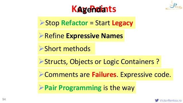 VictorRentea.ro Key Points 94 Introduction Names Functions Classes Formatting & Comments Clean Lambdas Agenda Refin...