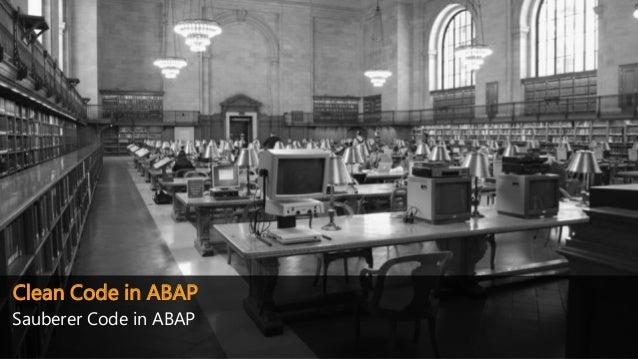 Clean Code in ABAP Sauberer Code in ABAP