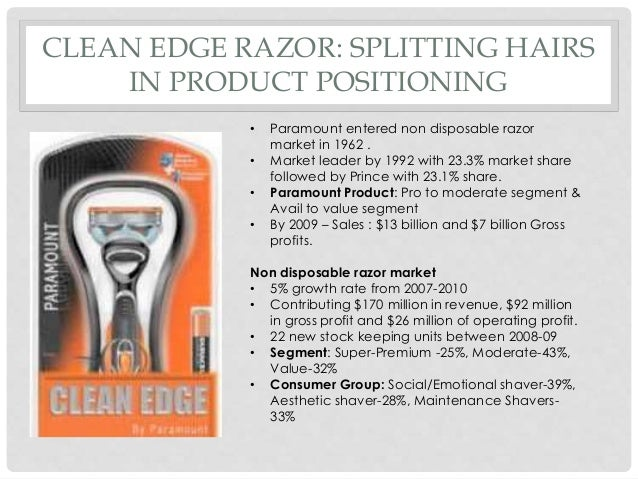 case study clean edge razor essay View this case study on financial analysis case study assessing a company's  future financial health  order a custom written essay  clean edge razor  case study paramount health established itself as a consumer giant with global .
