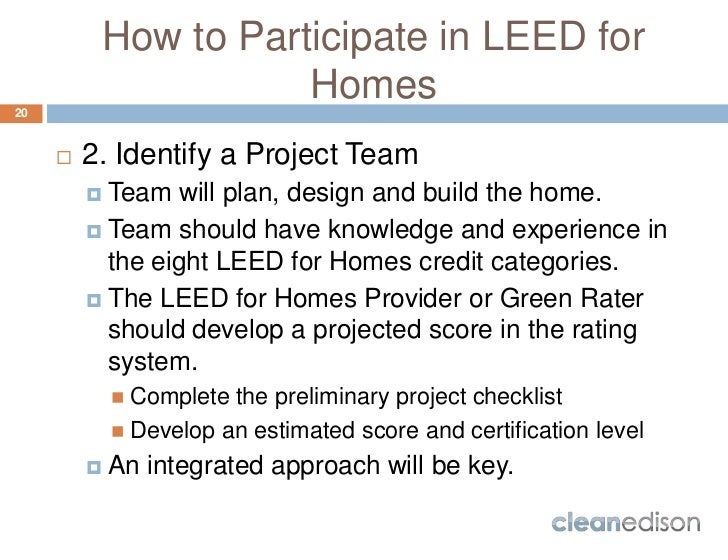 Cleanedison leed for homes course overview for Leed for homes provider