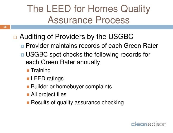 Cleanedison leed for homes course overview for Leed for homes rating system