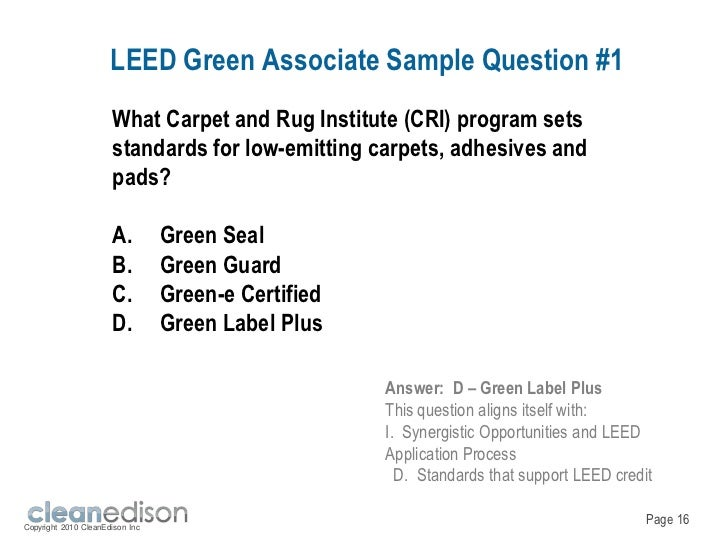 Cleanedison Leed Green Associate Exam Overview And Green