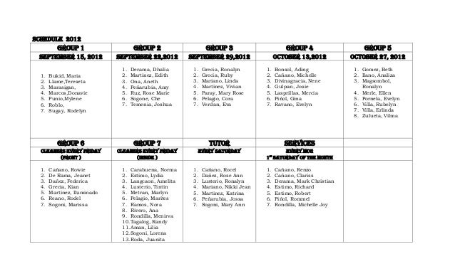 SCHEDULE 2012          GROUP 1                   GROUP 2                  GROUP 3                        GROUP 4          ...