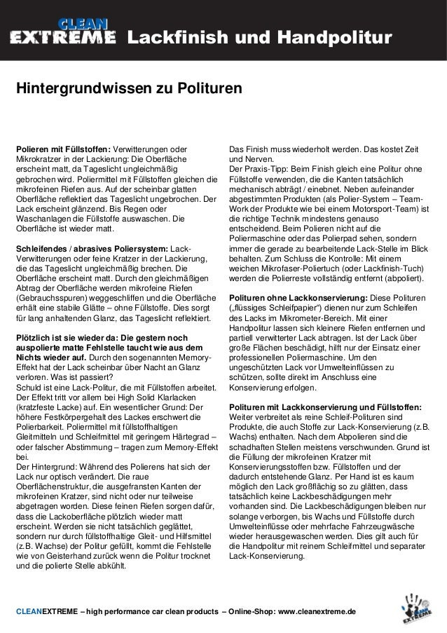 CLEANEXTREME Tutorial 3 Lackfinish und Handpolitur nach der Fahrzeugwäsche 2014 Slide 3