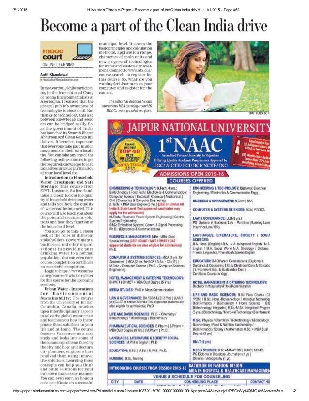 7/1/2015 HindustanTimesePaperBecomeapartoftheCleanIndiadrive1Jul2015Page#52 http://paper.hindustanti...