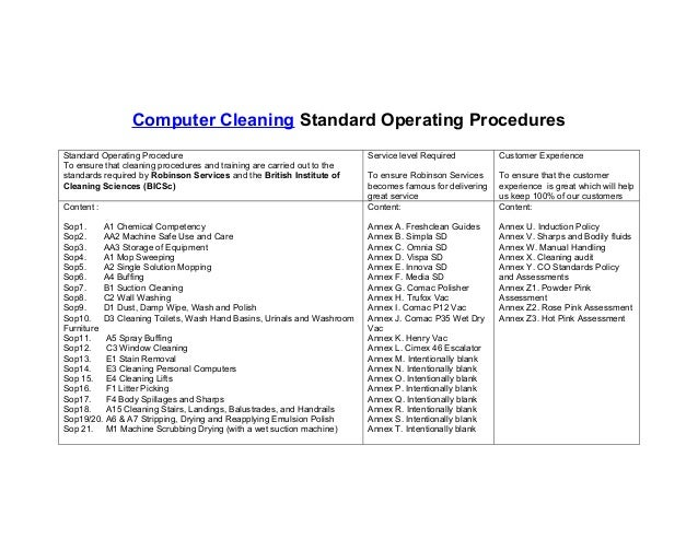 Sanitation standard operating procedures fdating