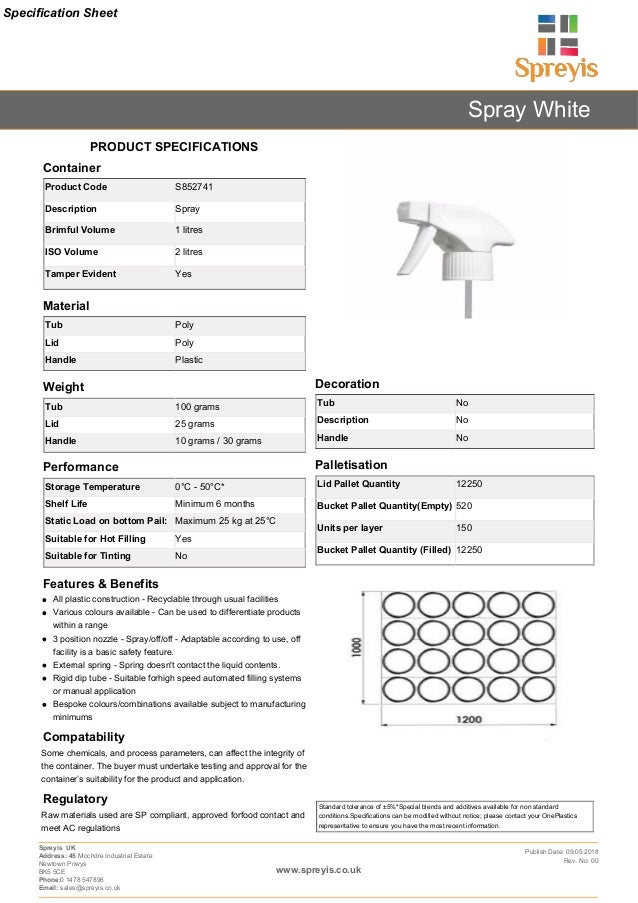 Cleaning Containers Datasheet Template