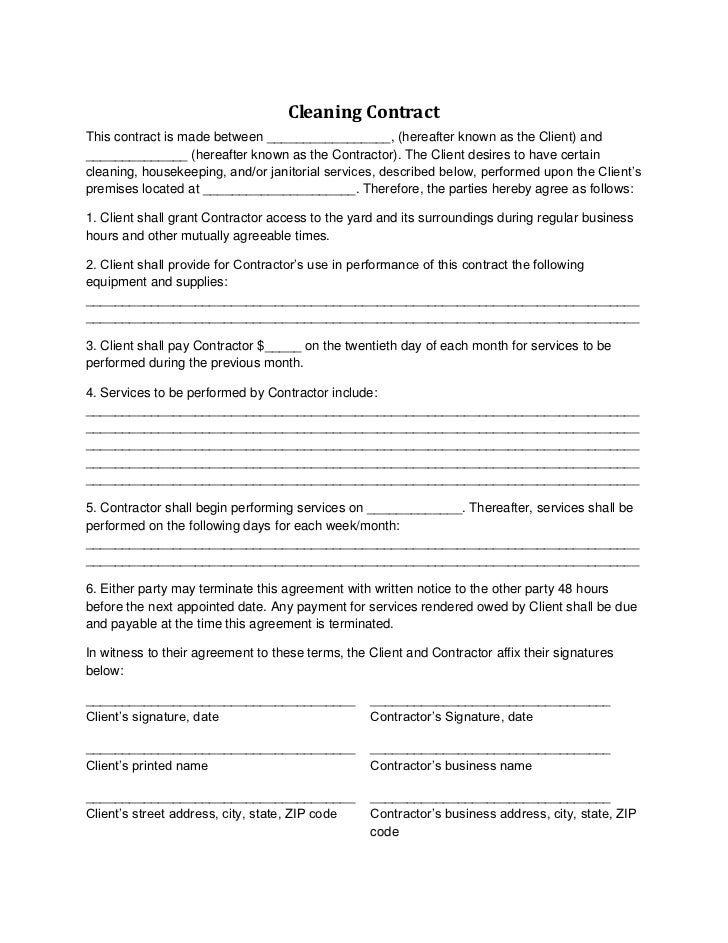 Cleaning contract for 0 hours contract template