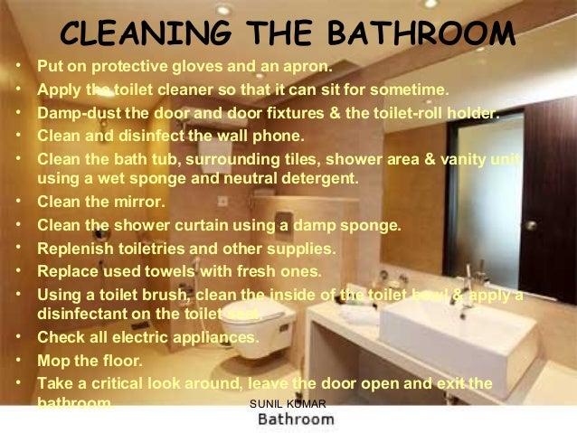 cleaning guestrooms rh slideshare net standard operating procedure cleaning bathroom bathroom cleaning procedure housekeeping pdf