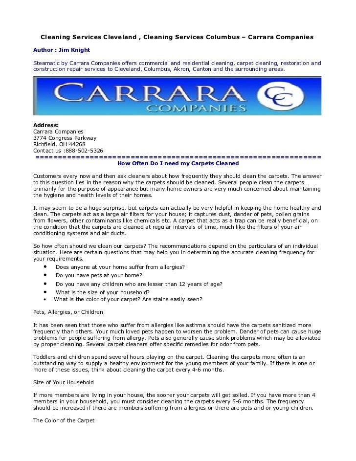 Cleaning Services Cleveland , Cleaning Services Columbus – Carrara CompaniesAuthor : Jim KnightSteamatic by Carrara Compan...