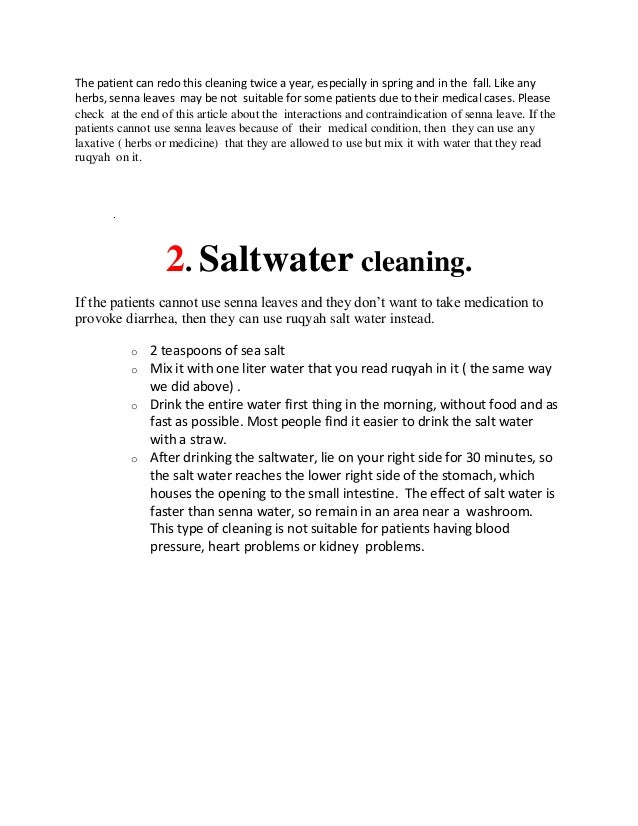 Cleaning of the intestine,from any sihr
