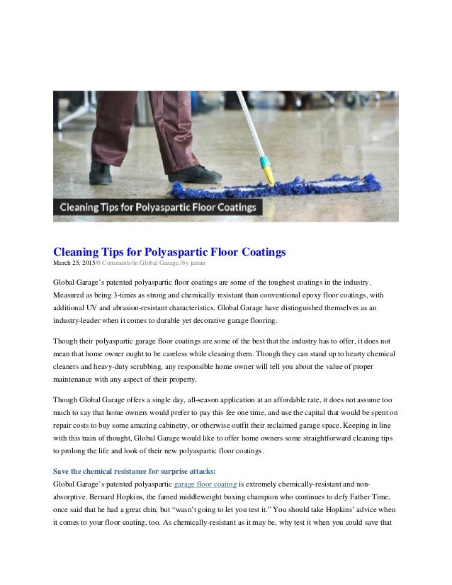 Cleaning tips for polyaspartic floor coatings global for Garage floor cleaning tips