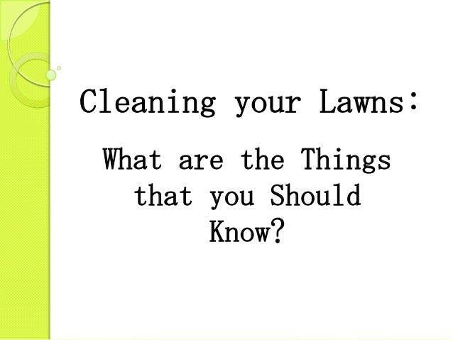 Cleaning your Lawns: What are the Things that you Should Know?
