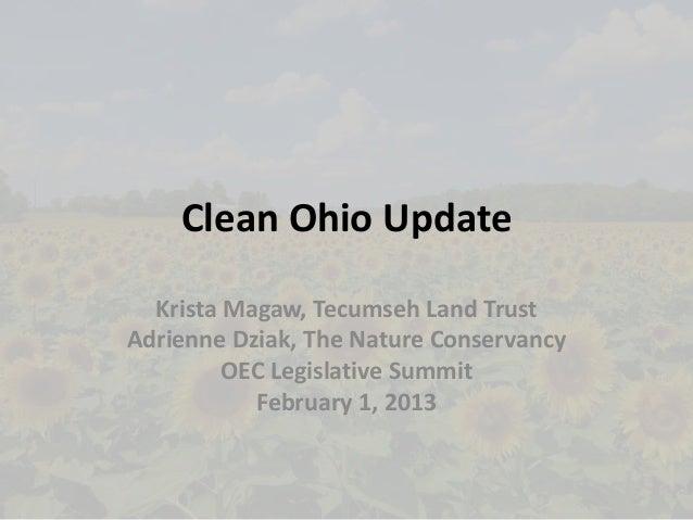 Clean Ohio Update  Krista Magaw, Tecumseh Land TrustAdrienne Dziak, The Nature Conservancy         OEC Legislative Summit ...