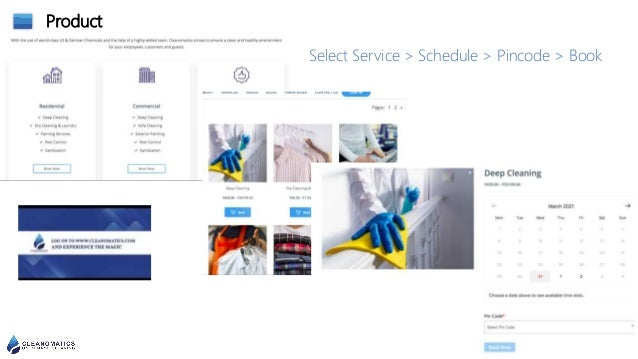 Product Select Service > Schedule > Pincode > Book