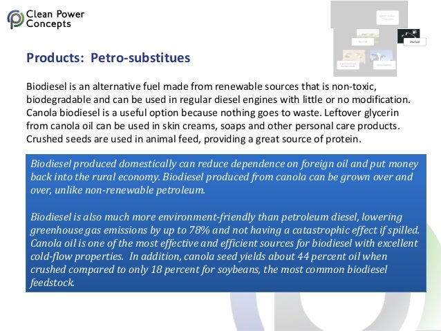 Products: Petro-substitues Biodiesel is an alternative fuel made from renewable sources that is non-toxic, biodegradable a...