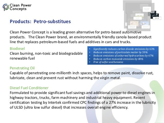 Products: Petro-substitues Clean Power Concept is a leading green alternative for petro-based automotive products. The Cle...
