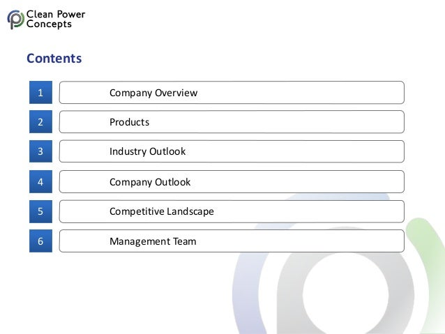 Company Overview1 Contents Products2 Industry Outlook3 Company Outlook4 Competitive Landscape5 Management Team6