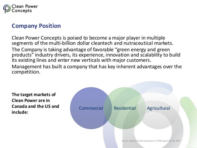 Company Position Clean Power Concepts is poised to become a major player in multiple segments of the multi-billion dollar ...