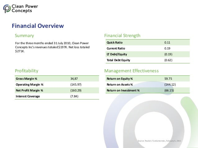 Financial Overview For the three months ended 31 July 2010, Clean Power Concepts Inc's revenues totaled $197K. Net loss to...