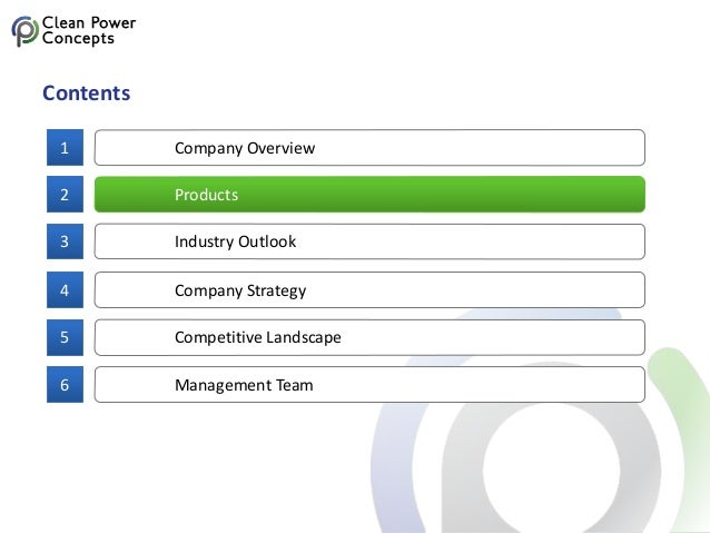 Company Overview1 Contents Products2 Industry Outlook3 Company Strategy4 Competitive Landscape5 Management Team6