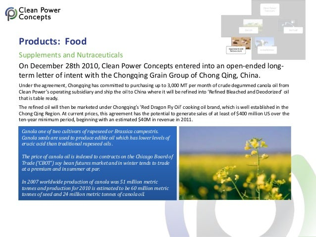 Products: Food On December 28th 2010, Clean Power Concepts entered into an open-ended long- term letter of intent with the...