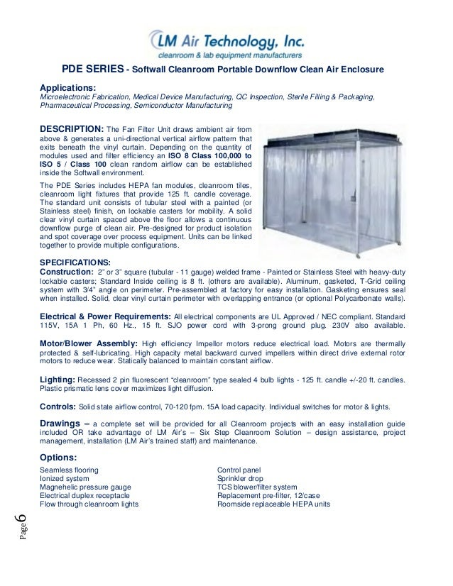 ... 7. Page6 PDE SERIES   Softwall Cleanroom ... Part 89